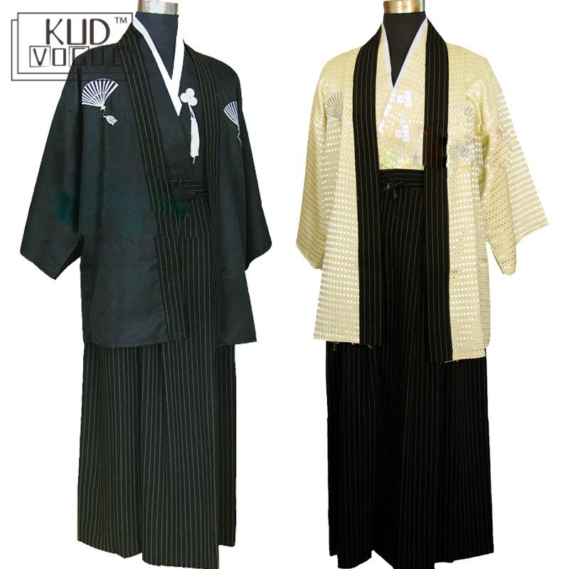 3 Pcs Vintage Kimono Japones For Man Japanese Traditional Dress Male Yukata Stage Performance Costumes Hombres Quimono Clothing