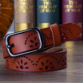 Hot Sale New Fashion Wide Genuine leather belt woman vintage Floral Cow skin belts women Top quality strap female for jeans 2017