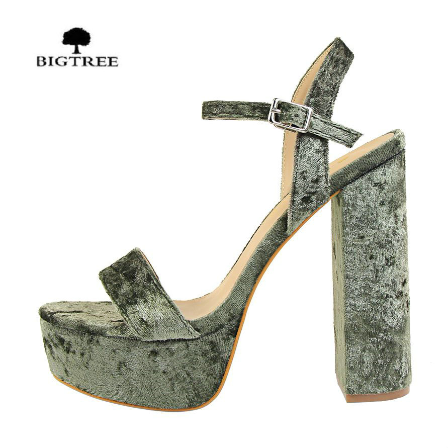 BIGTREE Women Sandals Casual Thick High Heels Shoes Sexy Summer Platform Ankle Sandals Sandalias Mujer Ladies Open Toe Pumps roman style women sandals strappy heels high heeled sandals sexy rhinestone crystal open toed leather pumps sandalias mujer