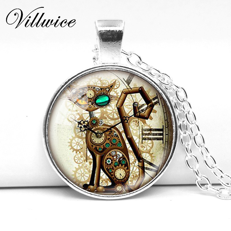 punk necklace vintage unisex mens new steampunk pendant parts customized products product steam image jewelry clock williewicked gear