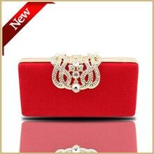 Высокое Качество Нового Горячие Корона алмазы бархат женщины вечерние сумки день клатчи кристалл сумочка черный/красный/фиолетовый цепи сумка