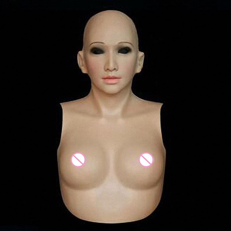 Top quality female silicone mask with boobs realistic silicone breast forms,cross dressing, ,party masquerade for men