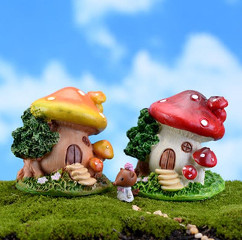 2pcs cartoon stairs mushroom house miniatures fairy garden for Jardin de setas
