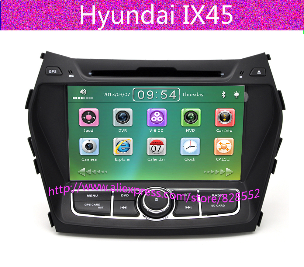 Dvd-Player Tv-Radio Can-Bus Free-Maps Bluetooth Hyundai Ix45 2-Din 8inch for with Gps