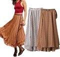 2017 de Primavera y Verano Faldas Las Mujeres de Cintura Alta de Impresión de Vacaciones Falda de La Playa De Impresión Laminada Envoltura Bohemio Faldas Largas para Las Mujeres
