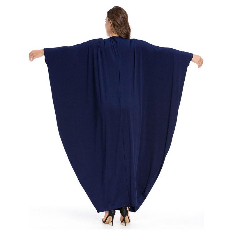 Women Muslim Dubai Abaya Maxi Dress Moroccan Kaftan islamic clothing Loose  Style Knitting Cotton Dresses Vestido Navy Blue