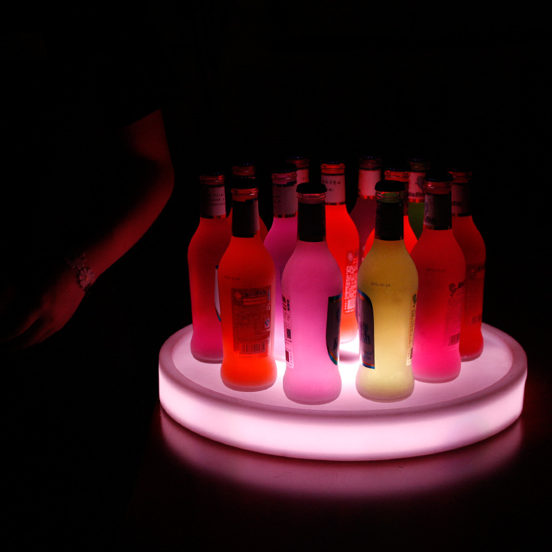 Led light bar wine set colorful remote control wine tray lamp beer cocktail red wine square round wine tray luminous night light angel wine decanter aerator set