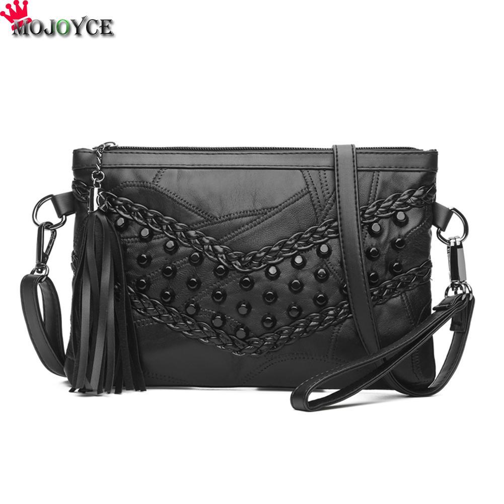 2019 Rivet Envelope Bags Single Shoulder Bags Clutch Crossbody Bag For Women Punk Brand Flap Handbags Sac A Main Bolsa Feminina