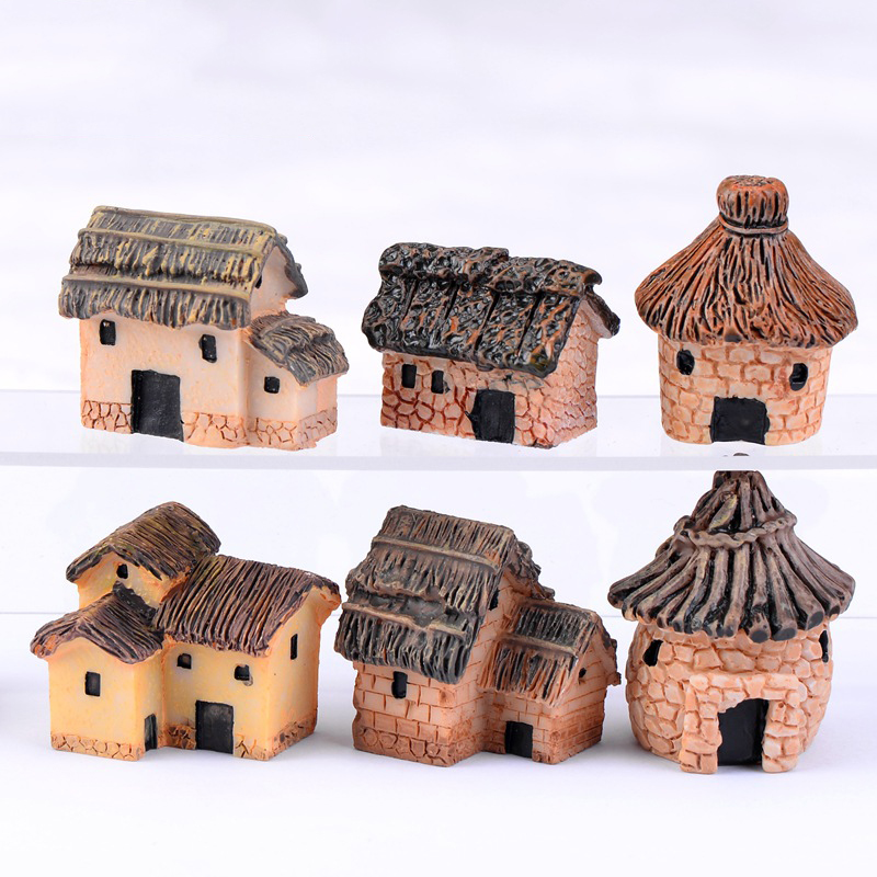 6 Style Country Cottages House Model Small Statue Figurine Crafts Russia Figure Ornament Miniatures Home Garden DIY Decoration