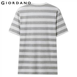Image 3 - ジョルダーノ男性 Tシャツ男性ストライプ刺繍パターンソフト品質綿 O ネックブランド夏の Tシャツ半袖 Tシャツ
