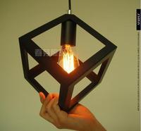 Cube Iron Black Creative Pendant Lights Vintage Restaurant Lamp Bedroom Pendant Light Foyer Pendant Lamps