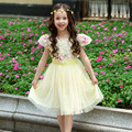 Дети девушки платья для ну вечеринку и свадьбы 2016 лето кружева цветы платье принцессы для девочек одежда Vestido розовый желтый зеленый