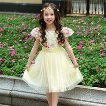Enfants filles robes pour parti et de mariage 2016 été dentelle fleurs princesse robe pour les filles vêtements robe rose jaune vert