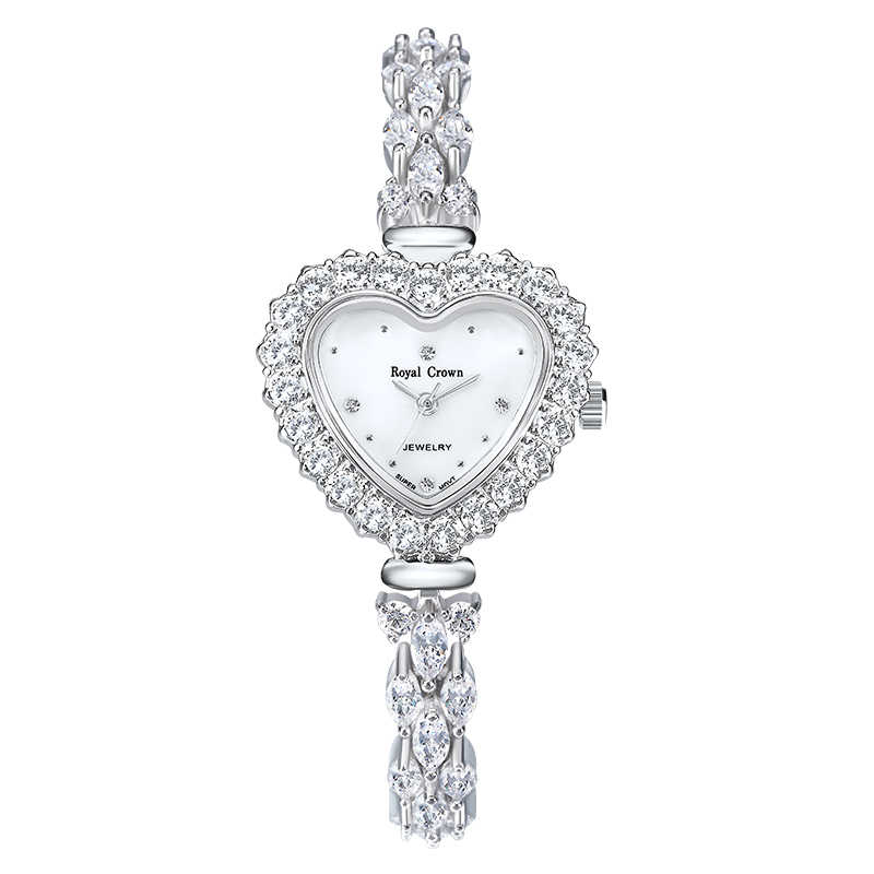 Royal Crown Jewelry Watch 3595B Italy brand Diamond Japan MIYOTA platinum Empress Dowager Women's Bracelet Fashion Quartz Watch royal crown jewelry watch 1514b italy brand diamond japan miyota platinum bracelet korean version female watch fashion