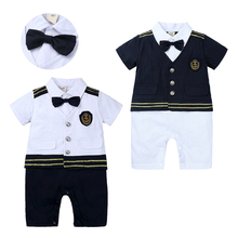Baby Boy Clothes Rompers Gentle Bow Tie Newborn Toddler Bebe Ropa Navy Uniform Design Photography Clothing New 4M-36M