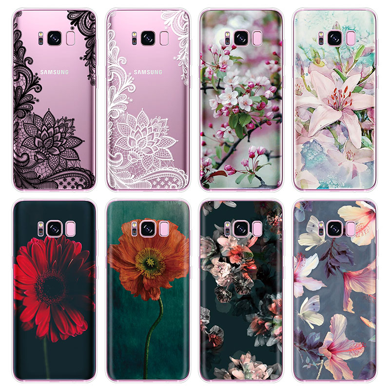 Soft TPU <font><b>Case</b></font> For <font><b>Samsung</b></font> <font><b>Galaxy</b></font> A50 A10 <font><b>A70</b></font> A51 A71 A81 A30 A40 A21 A01 A70S S20 Ultra S8 S9 S10 Plus Note 10 Lite <font><b>Flower</b></font> Funda image