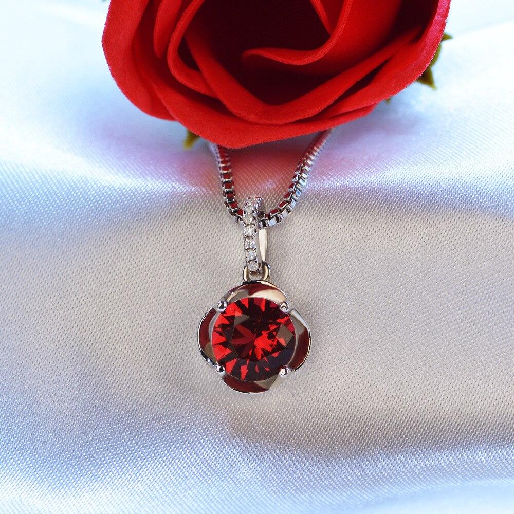 e2673a9cbcb4 Joyería de moda Color rojo AAA Cubic Zirconia 925 plata esterlina collares  mujeres joyería HERN0006