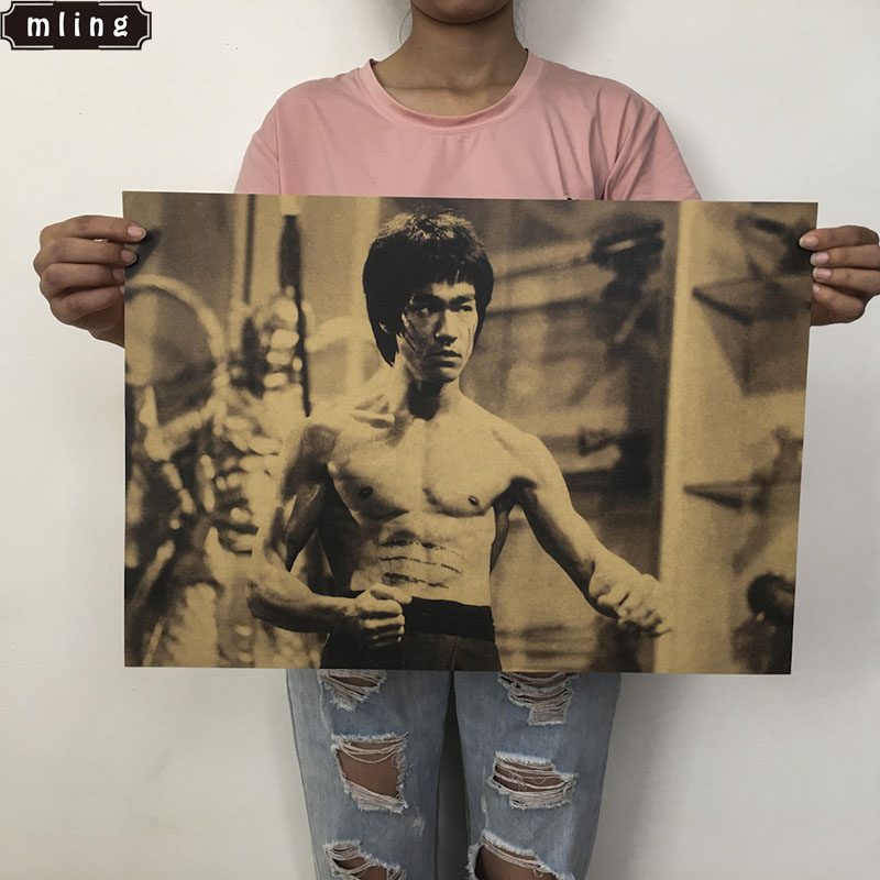Mling 1PC Retro Poster Bruce Lee Nostalgia Classic Old Movie Poster Master Kung Fu Kraft Paper Bar Cafe Decor Wall Sticke
