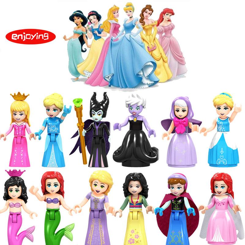 Beauty and The Beast Princess Figures Ninjago Batman Deadpool Queen Elsa Compatible LegoINGly Building Blocks Toys for Children