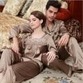 2017 Весной Бренд домашней одежды Пары Китайский Стиль Pajama наборы Мужчины отложным воротником рубашки и брюки Мужской Шелковый как пижамы костюм