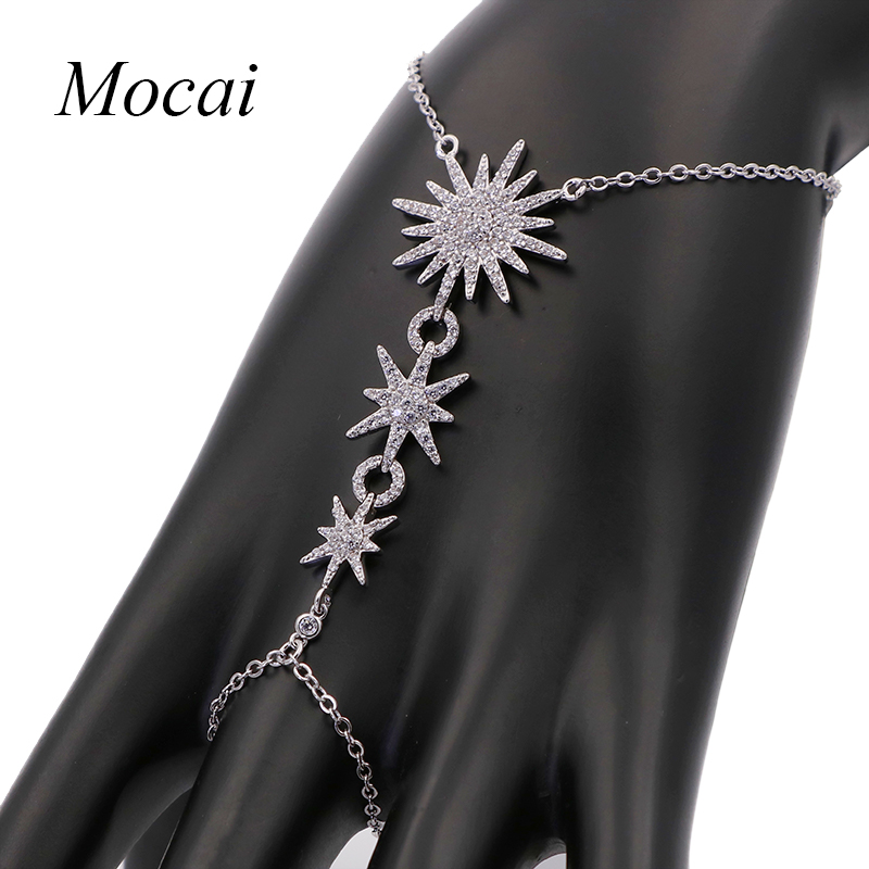 Famous Brand Design Sunflower Finger Conjoined Bracelet For Women Micro Pave Cubic Zirconia Siamese David Star APM Jewelry ZK33