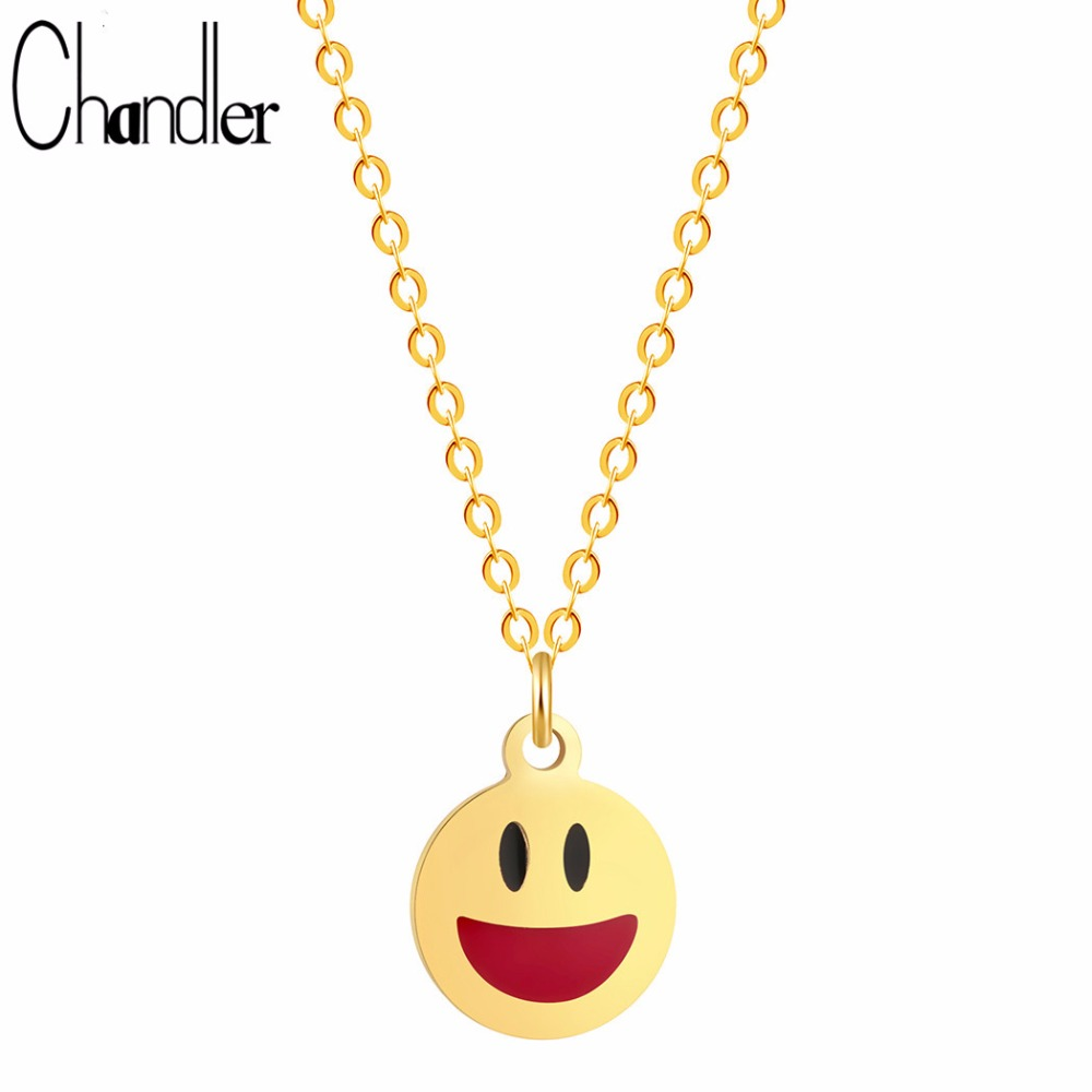 Chandler High Quality Facial Expression Smiling Face Pendant Necklaces For Girls Good Luck Be Happy Charm For Birthday Gifts