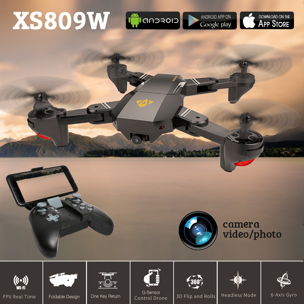 Wide-Angle Visuo XS809W XS809HW Mini RC Helicopter Foldable RC Drone With Wifi FPV Camera RC Quadcopter VS JJRC H37 Eachine E58 jjrc h37 elfie foldable mini rc drone with camera fpv transmission quadcopter rc drone helicopter wifi control vs jjrc h31 h36