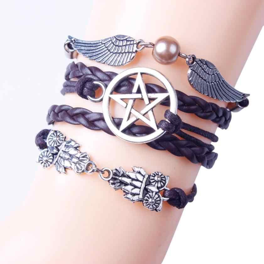SUSENSTONE 2017 meilleure vente rétro femmes Style ailes Bracelet bracelet breloque manchette bijoux gothique Bracelet