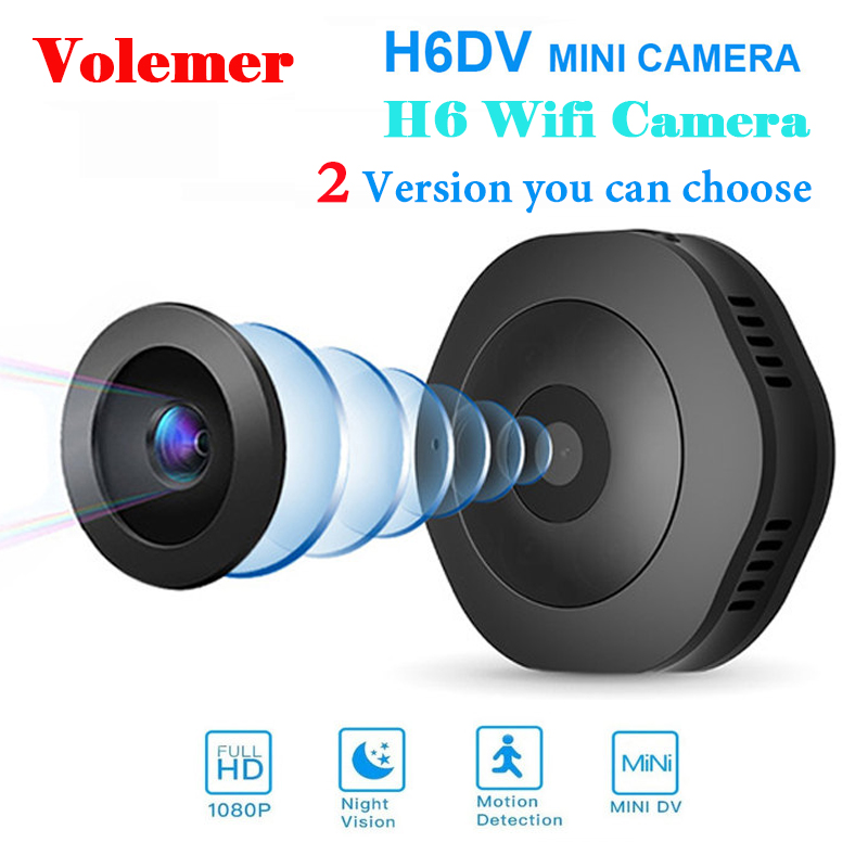 Volemer H6 DV/Wi-fi Micro Câmera Noite Versão Mini Action Camera com motion Sensor Camcorder Video Recorder Voz Pequena camer