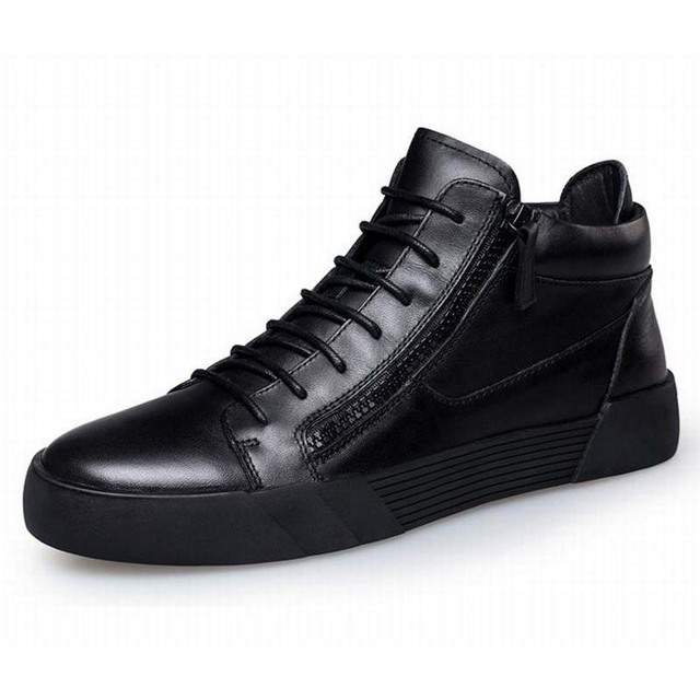 Men Casual Shoes British Style Fashion Walking Flats Shoes Ankle Boots High Top Height Increasing Lace-up Double Zipper Bootie