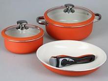 Набор посуды POMI DORO, 6 предметов, силиконовый ободок на крышке