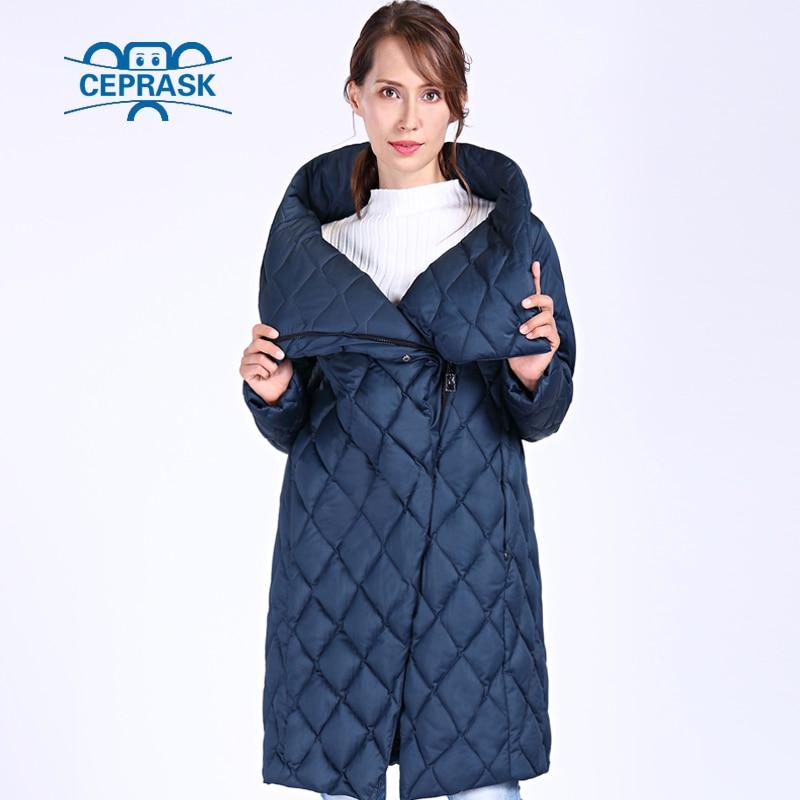 CEPRASK 2018 New High Quality Thick   Parkas   Women Bio fluff Hooded Women's Winter coat Plus Size Long Warm Stylish Winter Jacket