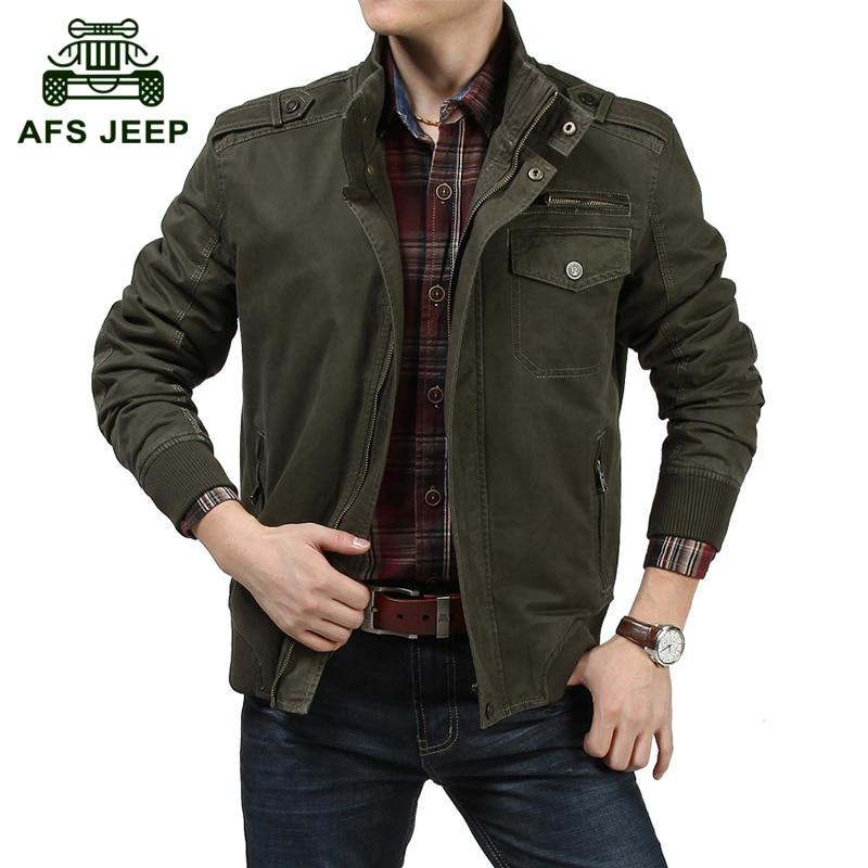 AFS JEEP 2017 Military men's spring casual brand high quality 100% pure cotton jacket coat autumn man khaki jackets black coats
