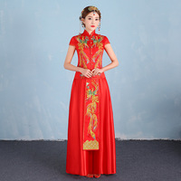 2017 Phoenix Embroidery Bride Modern Qipao Women Traditional Plus Size Chinese Dresses Red Wedding Dress Men
