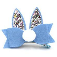 2pcs/lot New  Glitter Rabbit Ear Hair Clip Fashion Felt Bow Barrette with Pom Girls Animal Hairpin Accessory Headwear