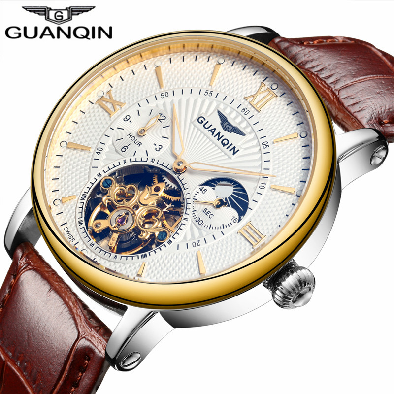 2018 Fashion GUANQIN Mens Watches Top Brand Luxury Skeleton Watch Men Sport Leather Tourbillon Automatic Mechanical Wristwatch(China)