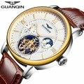 2018 модные мужские часы GUANQIN, Топ бренд, роскошные часы со скелетом, мужские спортивные часы с кожаным турбийоном, автоматические механически...