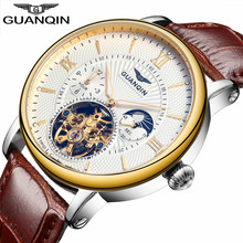 ساعات GUANQIN للرجال مواكبة للموضة لعام 2018 ، ساعة فاخرة بهيكل عظمي للرجال ، ساعة يد آلية أوتوماتيكية من الجلد للرجال