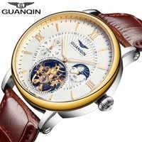 Relojes Para Hombre de GUANQIN de moda de 2018, reloj de esqueleto de lujo para hombre, reloj de pulsera mecánico automático Tourbillon de cuero deportivo para hombre