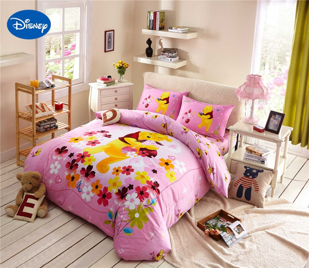 Winnie the pooh toddler bedding - Cartoon Disney Printing Bedding Set Cotton Pink Color Winnie The Pooh Comforters Bed Duvet Cover Girls