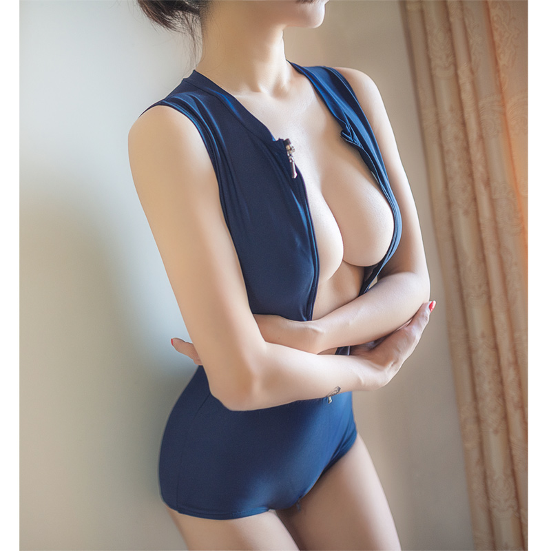 New Hot Sexy High Quality Two Zipper Japanese Sukumizu School swimsuit One Pieces slimming swimsuit women bathing suit With Pad 5