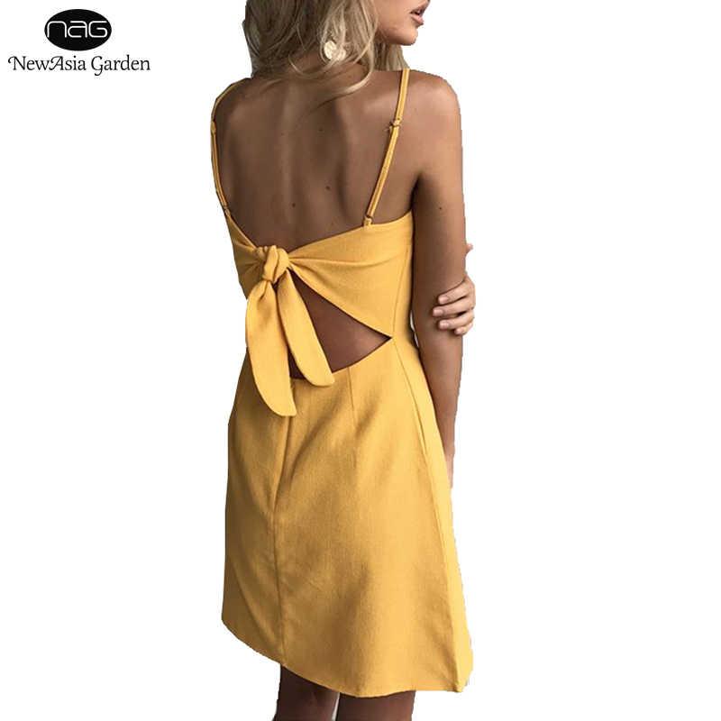 Newasia vestido de verão para praia, vestido de linho feminino, costas nuas, com laço, casual, minivestido amarelo amarelo,