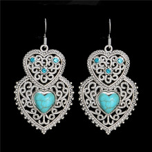 SHUANGR Vintage Heartstone Blue Natural Stone Double Heart Crystal Drop Earrings For Women Fine Jewelry Accessories femme