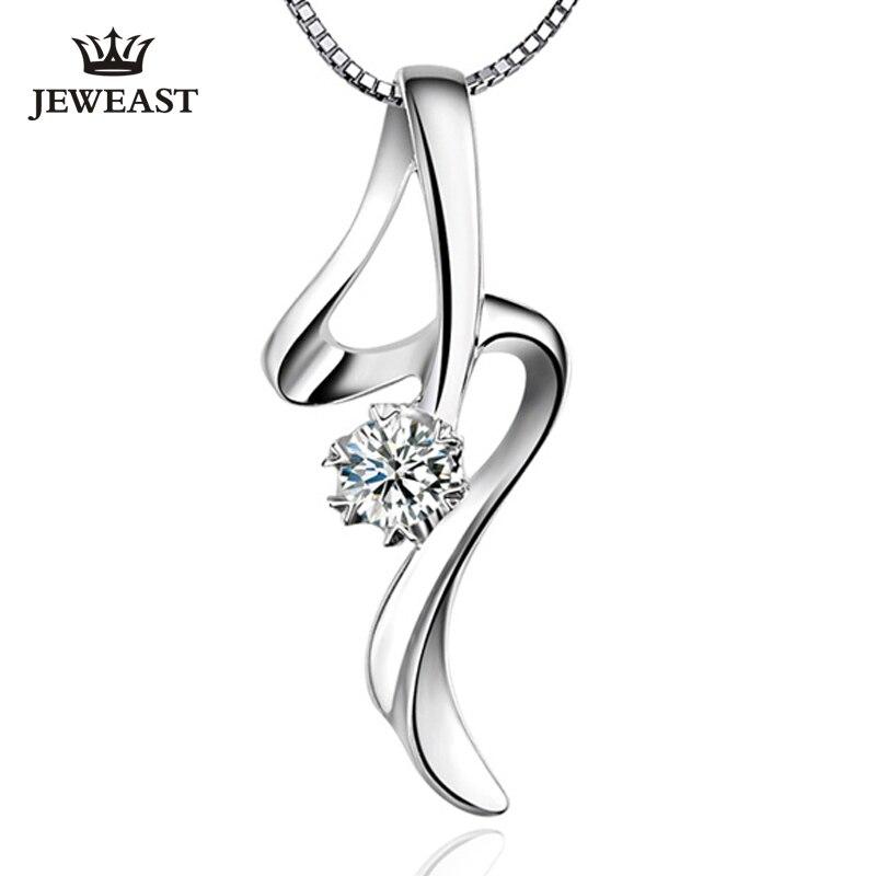 PT950 platinum diamond necklace pendant white gold single diamond pendant female Genuine Support Customization 18krgp four leaves clover diamond pendant alloy necklace gold