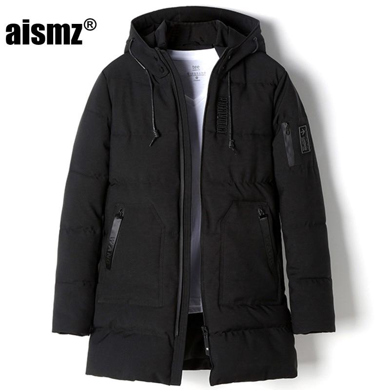 Aismz Long Winter Parkas Men Clothing Outwear Cotton Parkas Male Casual Jacket Big Coat Hot Sale