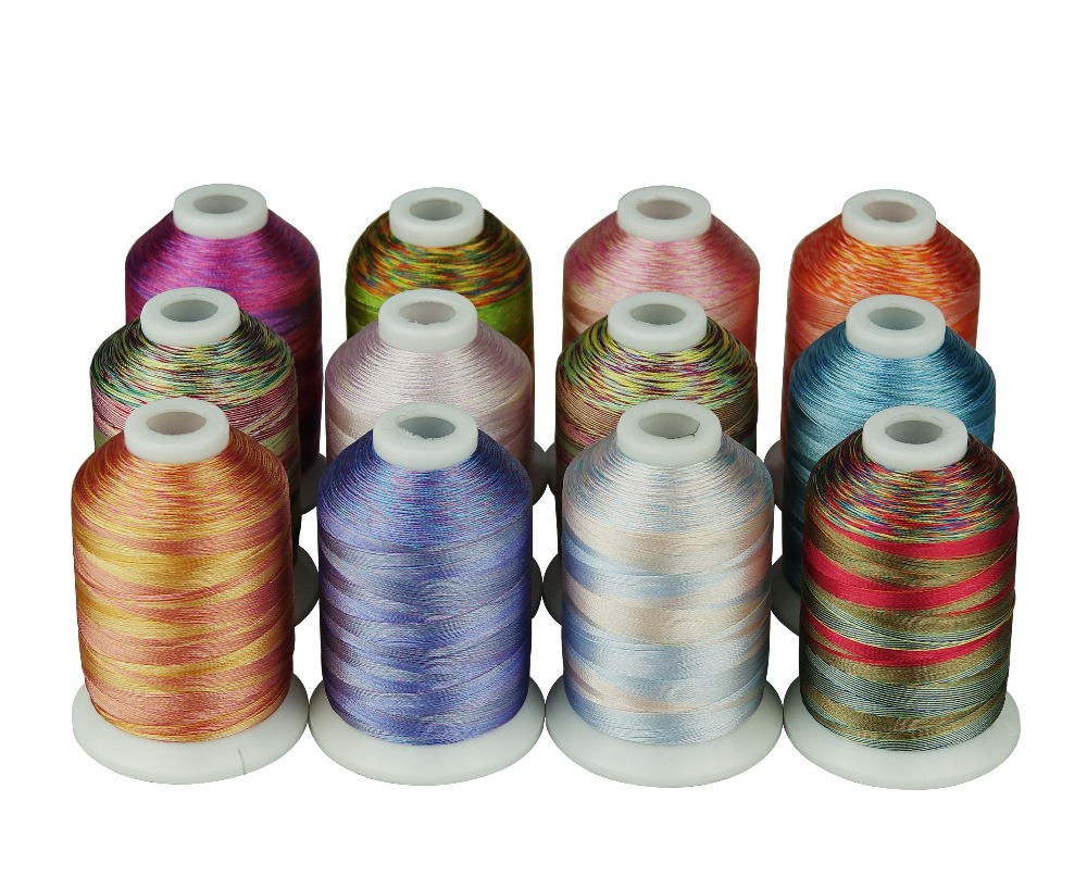 Simthread Variegated Colors Multi-colors Polyester Embroidery Thread 12 Colors 1100 Yards Per Spool
