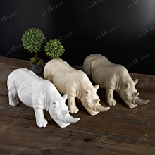 Nordic creative ceramic Rhinoceros statue home decor crafts room decoration objects porcelain animal figurine office ornament d toub objects
