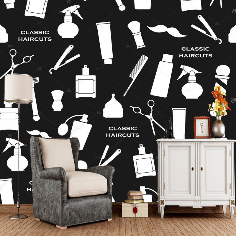Us 12 5 50 Off Barber Wallpaper Barbershop Vintage Pattern Black And White For Living Room Shopping Center Background Wall Pvc Papel De Parede In