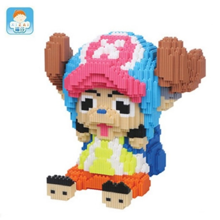 XIZAI Cartoon Connection blocks Cute Large size One Piece Chopper brinquedos Model challenge Building Bricks Kids Toys Girl Gift