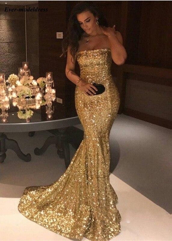 Sparkly Gold Sequin   Prom     Dresses   2019 Strapless Mermaid Sweep Train Modest Vestidos De Festa Evening Party Gowns Plus Size